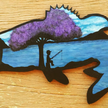 Fishing painting, Fish shaped painting, Wood wall art, Silhouette painting, Handmade art, Home and living, Gift ideas, fish painting,
