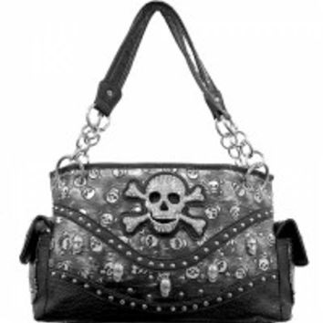 Skull & Crossbones With Rhinestones & Mini Skulls Handbag