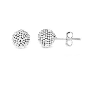 14k White Gold Bead Ball Stud Earrings