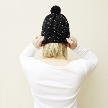 Black Knit Hat with Pom Pom, Fall Winter hat, Natural Neutral hat, Rustic Warm Hand Knit Hat, Bobble hat, Made by VeraJayne, Ready to Ship