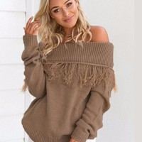 Let Loose Off Shoulder Sweater - Available in Tan and Black