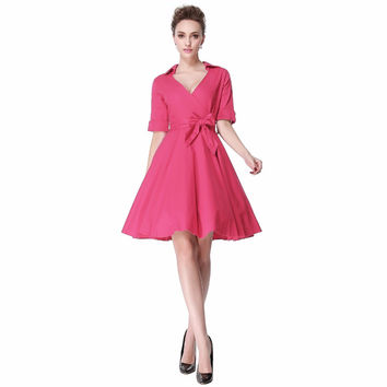Heroecol Women V Neck Short Sleeve Vintage 50s 60s Swing Style Dresses Rockabilly 1950s 50's Party Pink Dress
