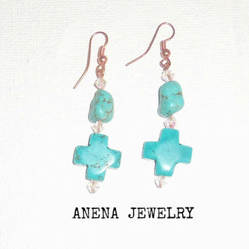 "Earrings : Genuine Howlite, Swarovski Crystal and Copper ""Safe and Secure"""