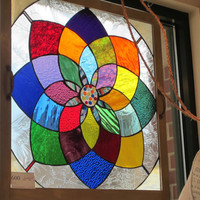 Vintage Window Frame w/ handmade stained glass color wheel..Extraordinary and Very Colorful/Rainbow