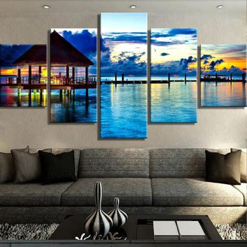 Ocean Sunset Vacation Dock 5 Piece Canvas Wall Art Home Decor