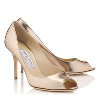 Nude Mirror Leather Peep Toe Pumps | Evelyn | Cruise 15 | JIMMY CHOO Shoes