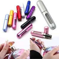Hot Mini Empty Refillable Perfume Atomizer Bottle 10ml Travel Scent Pump Portable Spray Case Aluminum (Random Color)