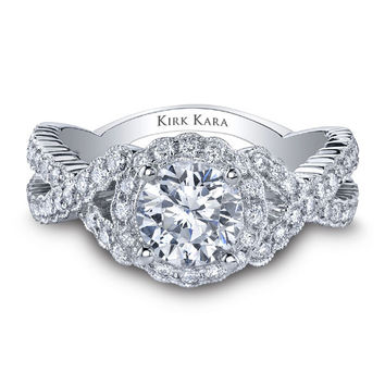"Kirk Kara ""Pirouetta"" Criss Cross Twist Halo Diamond Engagement Ring"