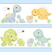 Dinosaur Baby Boy Nursery Decor Decals Wall Art Wallpaper Border [1044] - $12.99 : DeCamp Studios, The best selection of nursery wall murals, childrens wallpaper border, teen girl or boy wall art decals, baby premade scrapbook pages, and digital printable