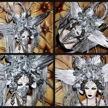 MADE TO ORDER Sci- Fi Cyber Futuristic gaga Wing silver Bird Stone Fantasy headdress headpeice wig