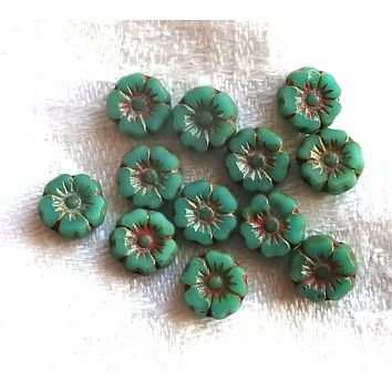 12 Czech glass flower beads, tiny 7mm table cut, carved, opaque turquoise blue green picasso finish Hawaiian Hibiscus floral beads C0901