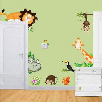 2015 Jungle Animal Kids Baby Nursery Child Home Decor Mural Wall Sticker Decal [8834019596]