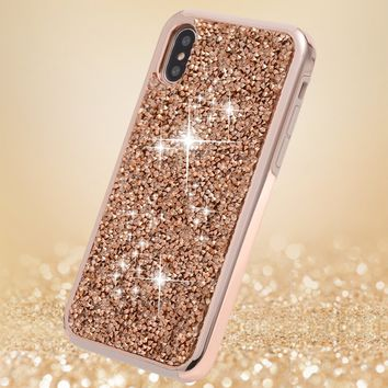 iPhone X Case, iPhone 10 Case,FLYEE 2 in 1 Bling Crystal 3D Diamond Pattern Sparkly Handmade Rhinestone Soft TPU Silicone Bumper Cover Perfect Fit for Apple iPhoneX iPhone10 Rose Gold