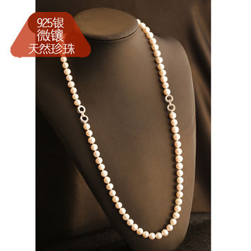New Arrival Stylish Shiny Jewelry Gift Pearls 925 Silver Ring Accessory Necklace [4914866692]