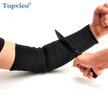 Topvico Stainless Steel Wire Cut Resistant Working Gloves Arm Wrist Protective Safety Gloves Metal Tactical Butcher Steel Gloves