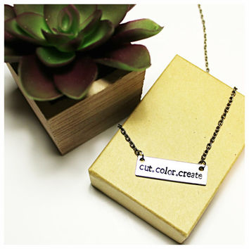 Personalized Bar Necklace, custom jewelry, make your own necklace, diy girlfriend gift, gifts for her, initials, inspirational jewelry
