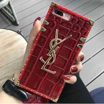 YSL Fashion Print iPhone Phone Cover Case For iphone 8 8plus iPhone6 6s 6plus 6s-plus iPhone 7 7plus Red