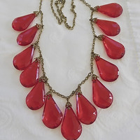 Vintage Red Lucite Statement Necklace