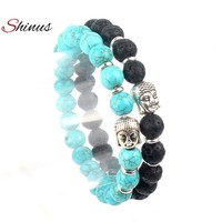 Shinus Strand Bracelet Men Buddha Natural Stone Couple Bead Bracelets Charm Buddhist Volcanic Rock Vintage Women Jewelry 2017