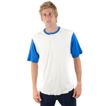 Brixton - Lewis White & Royal Henley T-Shirt