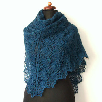 teal lace shawl with wool and mohair, handknit triangle scarf
