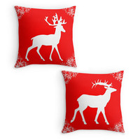 Christmas Pillow, Red and White,Xmas Deer, Stag, Snowflake Scatter Cushion, 16x16, Xmas Decoration