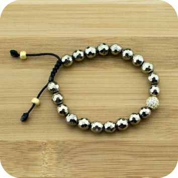 Faceted Golden Hematite Yoga Beads Bracelet with Gold Crystal Pave