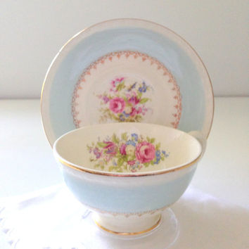 Mid Century Homer Laughlin Georgian Eggshell Chateau Blue Tea Cup and Saucer Wedding Gift Bridal Shower Replacement China