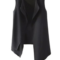 Black Lapel Asymmetric Hem Vest