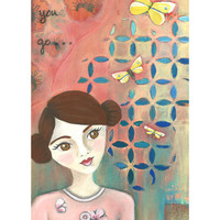 "Whimsical Art Print of Original Mixed Media Painting 9 x 12, Portrait,""Where Will You Go"", girl with butterflies, wall art"