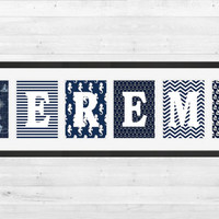 Personalized Nursery Letters, Custom Decor Prints, Nautical in Navy Blue and White, Boy Name Prints, Custom Name Art, Nursery Decor, 8x10