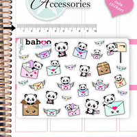 Kawaii Happy Mail Stickers Cute Baboo Panda Stickers Mail Stickers Planner Stickers Functional Stickers Decorative Stickers NR780