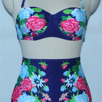 Floral Print High Waist Women Swimsuit