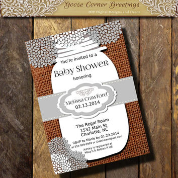 Baby Shower MASON JAR Bridal Invitation Burlap Lace Rusti