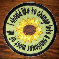 Harold and Maude handmade sunflower patch, iron on, reincarnation, true love, be free, one love, life, death, Hal Ashby, upcycled, recycled