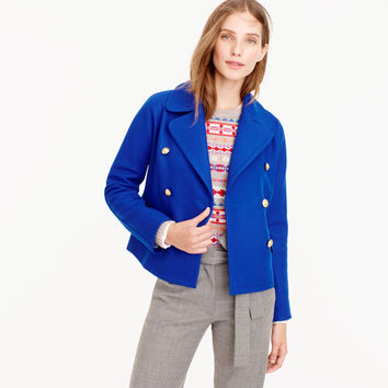 Cropped double-breasted peacoat