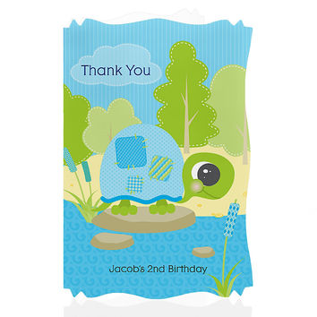 Boy Turtle - Personalized Birthday Party Thank You Cards