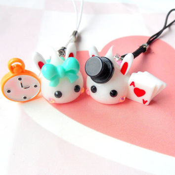 Alice In Wonderland, Mad Hatter Hoppe Chan, Tamagotchi Charm, Kawaii Phone Charm, Kawaii Bunny Dust Plug, Nintendo 3DS, PS Vita, Bunny Ears