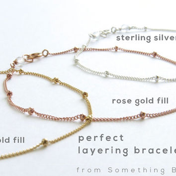 Satellite Chain Bracelet Simple Minimal Bracelet Modern Jewelry Stacking Bracelet Perfect Layering Bracelet Silver Gold or Rose