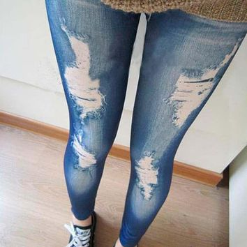 0 Ripped Denim Vintage Jeans Look Skinny Jeggings Tights Pants Trousers Blue Newest