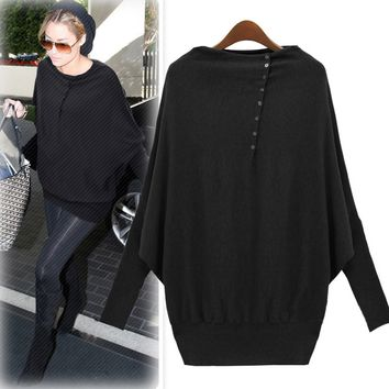 Side Button Batwing Sleeve Loose Sweater
