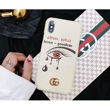 GUCCI Fashion Snow White With Big Eye Print iPhone Phone Cover Case For iphone 6 6s 6plus 6s-plus 7 7plus 8 8plus X I-OF-SJK