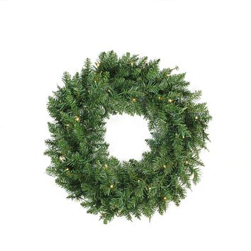 "30"" Pre-Lit Buffalo Fir Artificial Christmas Wreath - Warm White LED Lights"