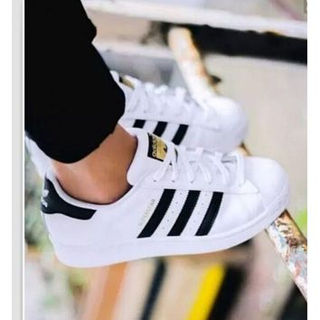 """""""Adidas"""" Fashion Shell-toe Flats Sneakers Sport Shoes White Black Golden For women"""