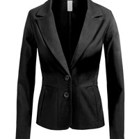 LE3NO Womens Fitted Double Button Blazer with Stretch (CLEARANCE)