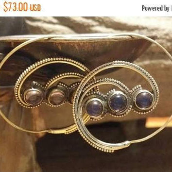 SUMMER End SALE 80% OFF Amethyst Golden Brass Hoops Earrings