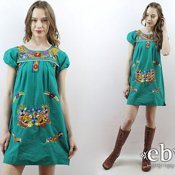 Green Mexican Dress Embroidered Dress Hippie Dress Festival Dress Hippy Dress Boho Dress Bohemian Dress 70s Dress 1970s Dress Summer Dress