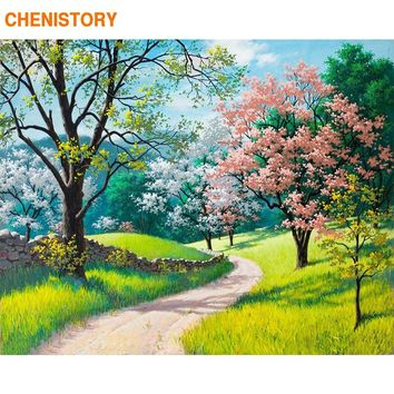 CHENISTORY Scenery Light Path DIY Digital Oil Painting By Numbers Frameless Abstract Canvas Home Decoration Wall Art Figure