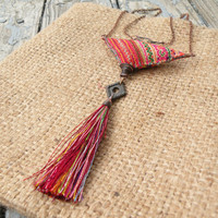 Gypsy Summer Necklace - Colorful, Eclectic, Bohemian Jewelry with Silk Tassel and Vintage Hill Tribe Embroidery