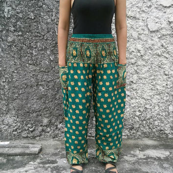 Exotic Green Elephant Print Trousers Yoga Pants Hippie Baggy Boho Style Clothing Thai Tribal Comfy Cloth For Beach Summer Unisex elegant